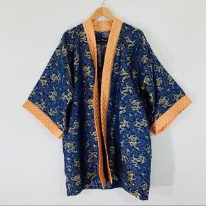 Beverly Hills Silk Blue Gold Dragon Print Kimono